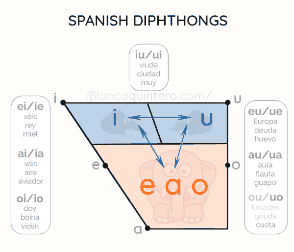 how to recognize composition vowels of Spanish diphthongs i u a e o examples pronounced strong weak letters