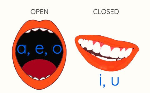 Spanish vowels position of the mouth to pronounce them open closed a e i o u for english speaker tongue diphthongs